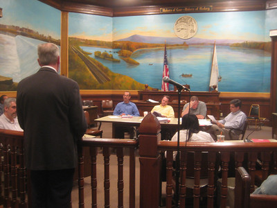 Terry Plum speaking to the Finance Committee of the Holyoke City Council. April 22, 2010.