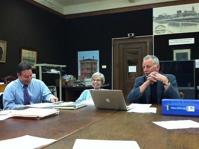 Sept 13, 2011. Library Board meeting.  Matt Blumenfeld (financial consultant), Ellen Moriarty, Terry Plum (Board President).