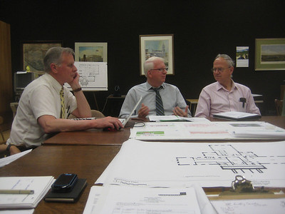 May 4, 2010.  Building Committee meeting with the architectural design team of Finegold Alexander + Associates, Inc. (FA+A).  Jim Alexander, Principal-in-Charge (center) and Sherman 'Pat' Morss, Associate Principal - Programmer (right).