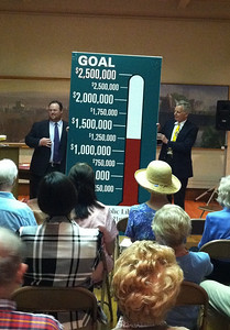 Rory Casey, Speakers Bureau chair, and Library Board President Terry Plum unveiled this new sign and announced the GOOD NEWS that the $2.5M campaign has reached the half-way mark just as the public phase of the campaign begins, June 9, 2011.