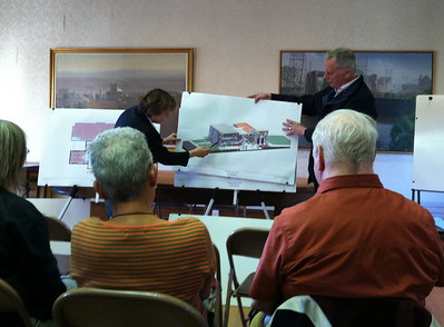 May 11, 2011. Ellen Anselone, AIA, LEED AP, Senior Associate with Finegold Alexander & Associates, and Terry Plum, President of the Holyoke Public Library Corporation Board, presented the latest architectural design at the Annual Meeting of the Friends of the Holyoke Public Library.