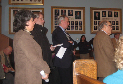 Tom Schwab (right) , HPL Treasurer, speaking to the Finance Committee of City Council, Feb 2, 2010.