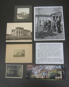 At the Holyoke History Room I found a file of exterior views of the Library.  When this library opened in 1902, there were few trees. In 1959 the DPW planted 10 trees. (See next photo for description.)