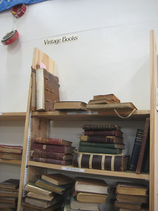 Vintage books are set aside in a locked office.  Also set aside are rare books and any especially valuable books.