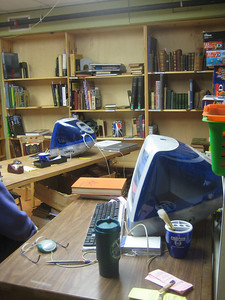 The inner workroom where rare and valuable books are processed.