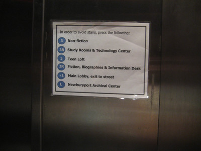 Sign in elevator.      The various levels can be confusing.