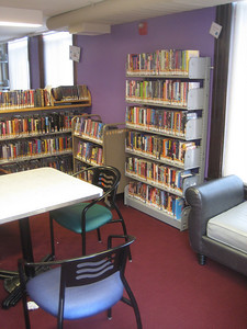 The Teen Librarian and youth advisors picked brighter colors for selected walls in the Teen Loft.