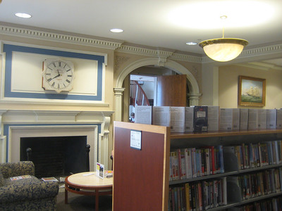 View from inside old section looking back toward entry way (Circ desk and stairs in distance)