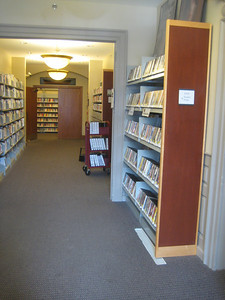 A hallway further inside old section.   Library Director's office is to right (foreground)