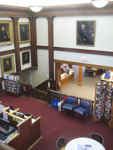 View from balcony down over Teen Loft, to Reference Desk on level below.