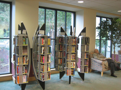 Mtn View Public Library, CA.   Comfortable chairs in well-lit reading areas.