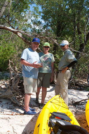 Powerboat access to sandy beach island, about a 20 minute boat ride, then kayak to island. Great campsites, trees, driftwood and heavy undergrowth. Not freshwater, so no gators.  Great for 2-3 days shooting.