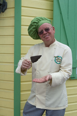 8791 Kermit shows off his Frozen chocolate dipped Key Lime Pie on a Stick, Key West