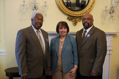 Dr. Acie McGhee Jr. (LTC-USARMY Retired), Acting Archivist Adrienne C. Thomas & Myron at the 5th Annual Genealogy Fair at the National Archives Building in Washington, DC, on April 22, 2009.  (Photograph provided courtesy of NARA).