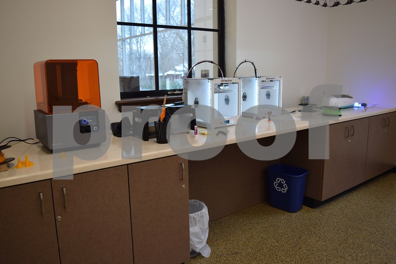 The makerspace at the DeKalb Public Library, 309 Oak St. in DeKalb, includes two Ultimaker fused deposition modelling printers, a sterolithography desktop Formlabs printer, a MakerBot digitizer desktop 3-D scanner and a Cricut vinyl cutter. The room also features whole-wall dry erase boards, a collaboration table with two screen projectors and will soon offer high-definition video conferencing.