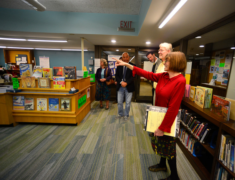 KRISTOPHER RADDER - BRATTLEBORO REFORMER<br /> Brooks Memorial Library director Starr LaTronica gives members of the Brattleboro Select Board a tour of some of the renovations to the library on Tuesday, March 7, 2017.