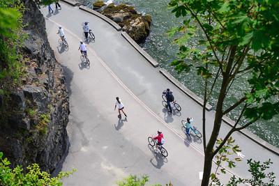 Bikers along the Stanley Park seawall.