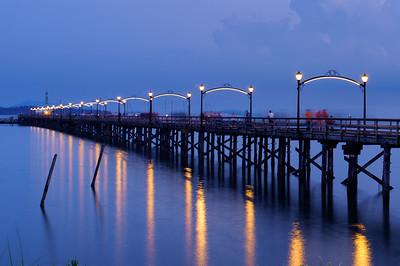 White Rock Pier at night.