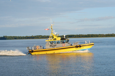 Pilot boat heading out.