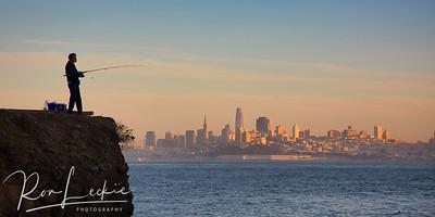 Fishing on San Francisco Bay - before sunset