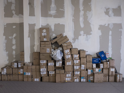 Empty boxes left over following construction of a bitcoin mining operation in Tbilisi, Republic of Georgia. Photo: Joe Harrison.