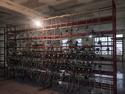A rack built to hold hundreds of bitcoin mining units sits half empty due to lack of demand from investors. Tbilisi, Republic of Georgia. Photo: Joe Harrison.