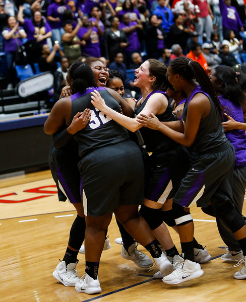 Nadav Soroker/Times-Georgian<br /> <br /> 11 victory cheer<br /> The Villa Rica Lady Wildcats face off against the Columbia Lady Eagles in the GHSA Basketball Semi-finals at the Columbus State University arena, on Saturday, March 2, 2019.