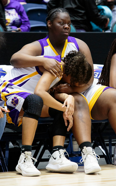 Nadav Soroker/Times-Georgian<br /> <br /> VR 10, ??<br /> The Villa Rica Lady Wildcats face down returning champions, the Buford Lady Wolves, at the Class AAAAA state championship match at the Macon Coliseum, on Friday, March 8, 2019.