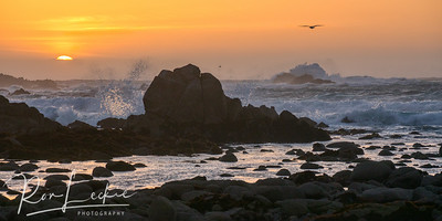 Sunset and Surf at Pacific Grove, California