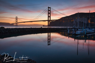 Golden Gate Bridge at sunset from Fort Baker