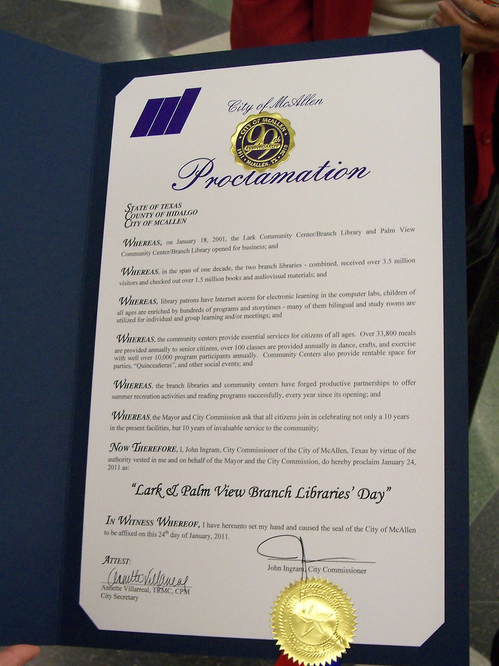 Lark & Palm View Branch Proclamation