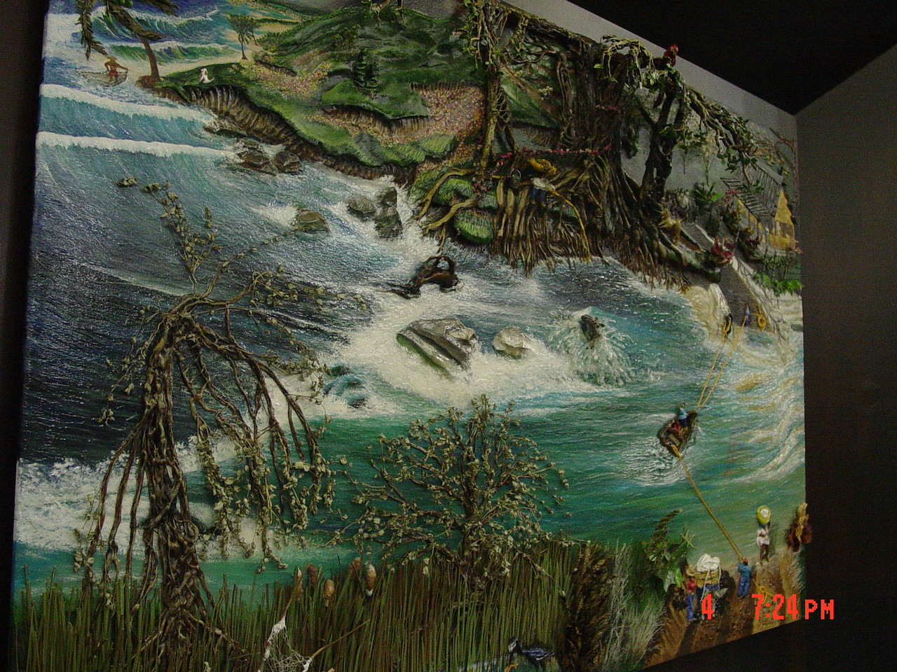 """Crossing the Rio Bejucal"" -multimedia (from left view)<br /> Walter Stevens - artist, sculptor, & muralist<br /> walkerstevens@gmail.com<br /> 956-483-9606"