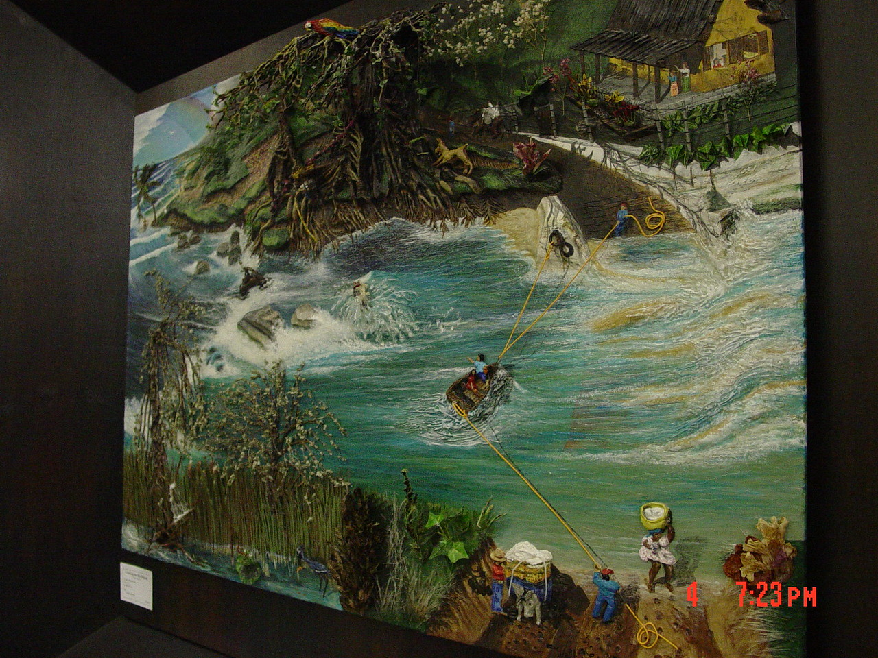 """Crossing the Rio Bejucal"" -multimedia (from right view)<br /> Walter Stevens - artist, sculptor, & muralist<br /> walkerstevens@gmail.com<br /> 956-483-9606"