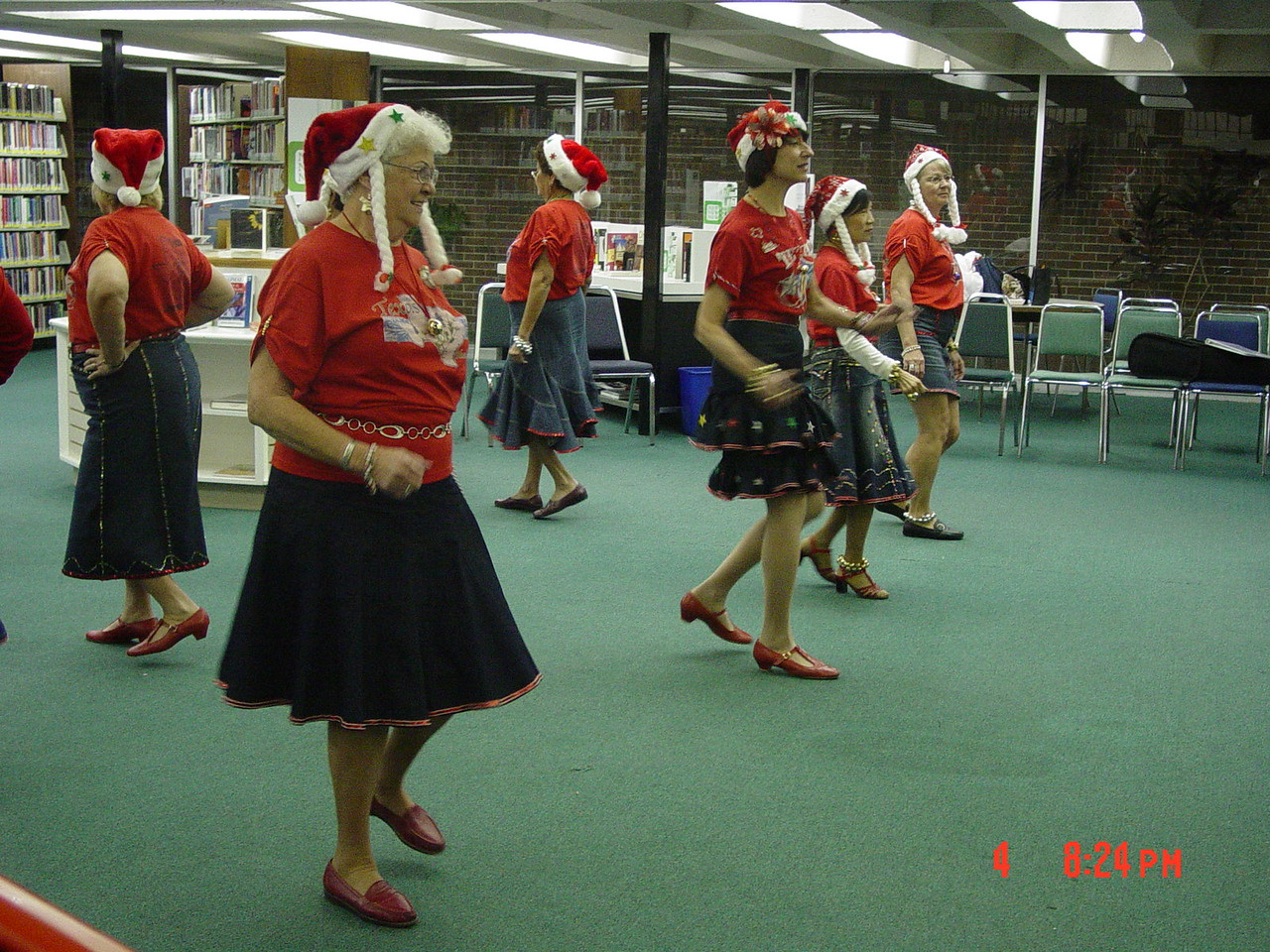 Texas Line Dancers stepping in line to Christmas music