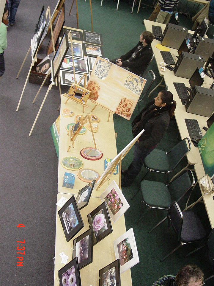 Top view of exhibited art.