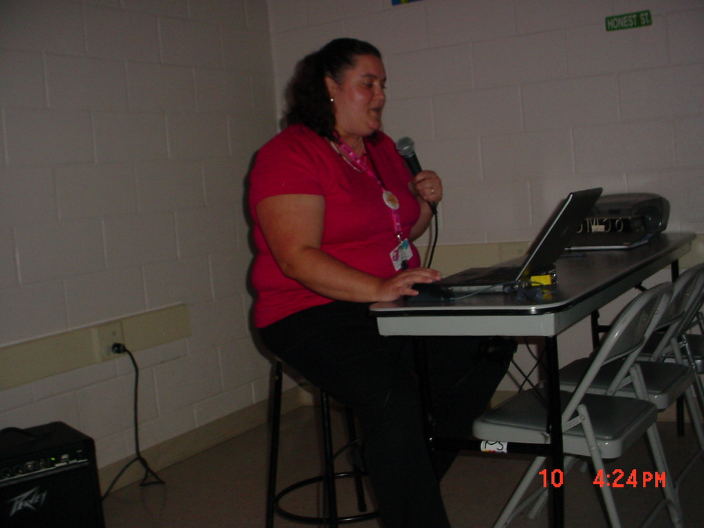 Our library staff member, Jennifer, rapping at Lark's teen talent show.