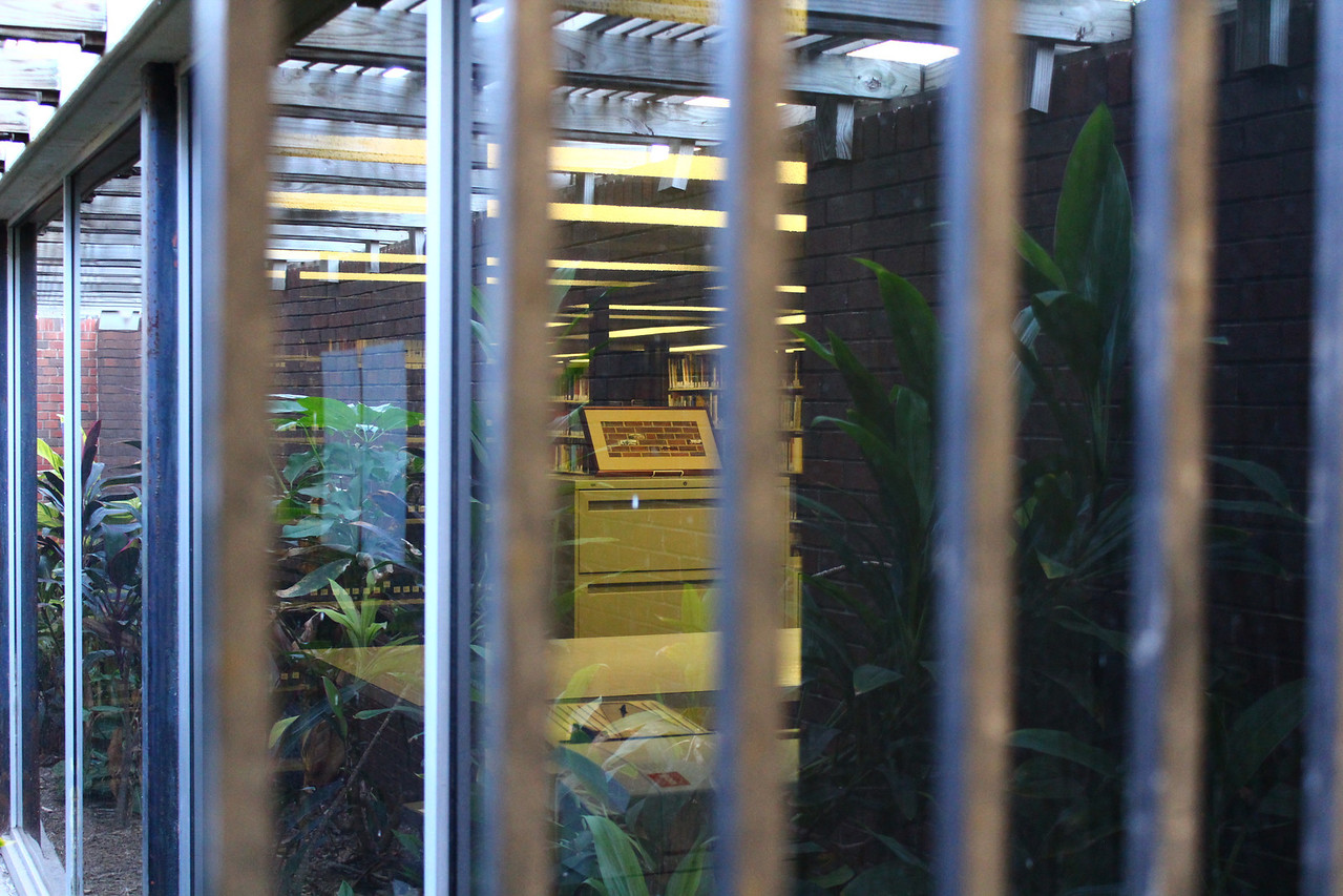 """Outside looking in. The framed photo on the cabinet inside is a historical timeline of the Old Main Library. See it here: <a href=""""http://www.mcallenlibrary.net/images/MPL_Historical_Timeline.jpg"""">http://www.mcallenlibrary.net/images/MPL_Historical_Timeline.jpg</a>"""