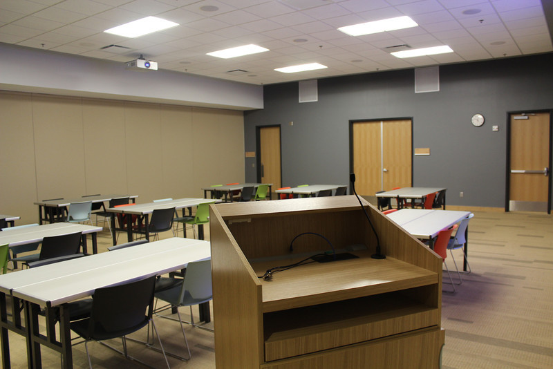 """Setup Option 3: Squares of 4. Applies to Meeting Rooms A & B only. For complete details: <a href=""""http://bit.ly/mplmeeting"""">http://bit.ly/mplmeeting</a>"""