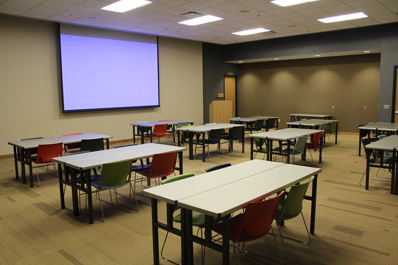 "Setup Option 3: Squares of 4. Applies to Meeting Rooms A & B only. For complete details: <a href=""http://bit.ly/mplmeeting"">http://bit.ly/mplmeeting</a>"