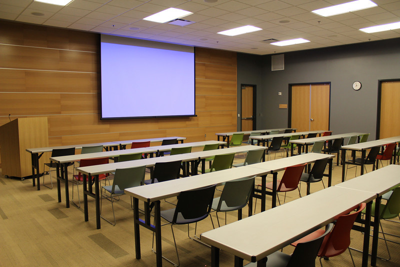 """Setup Option 1: Presentation Style (Tables). Applies to Meeting Rooms A & B only. For complete details: <a href=""""http://bit.ly/mplmeeting"""">http://bit.ly/mplmeeting</a>"""