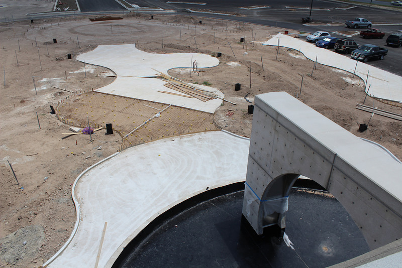 Rooftop view of the water feature and the front mall taking shape.