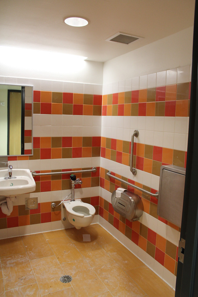One of four colorful children's bathrooms.