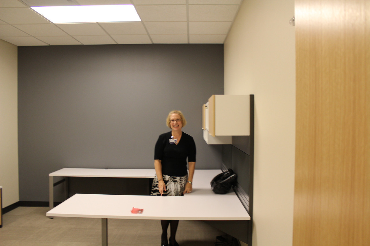 Assistant Director of Public Services, Kate Horan, checks out her new office.