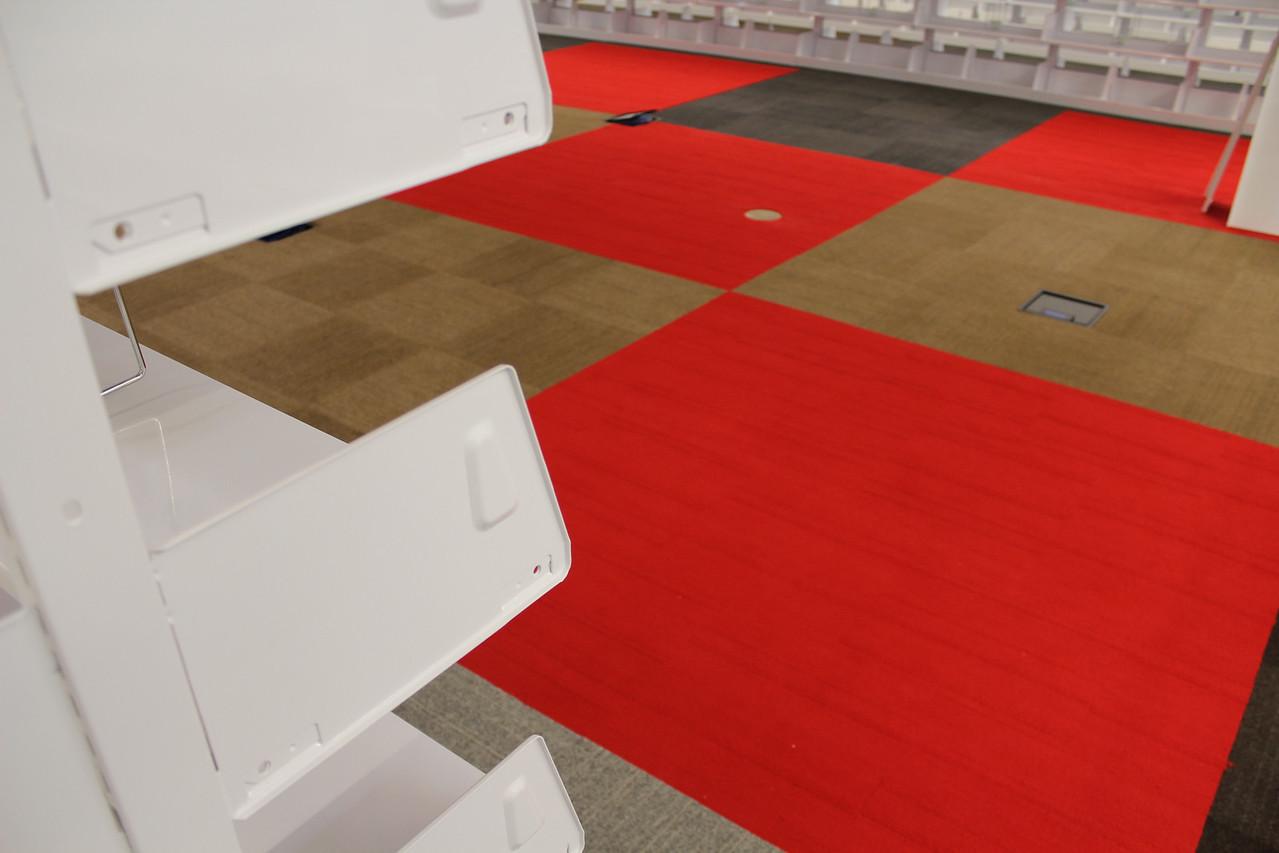 shelf-carpet color contrast. beautiful!