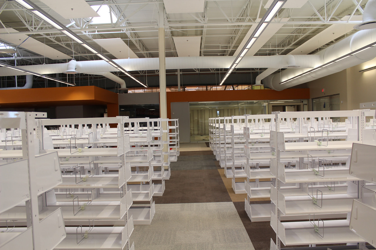 adult collections shelves facing the teen section
