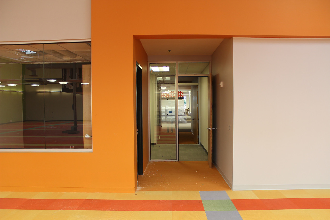 study rooms in the children's section. the open door leads through a study room to the adult collections area.