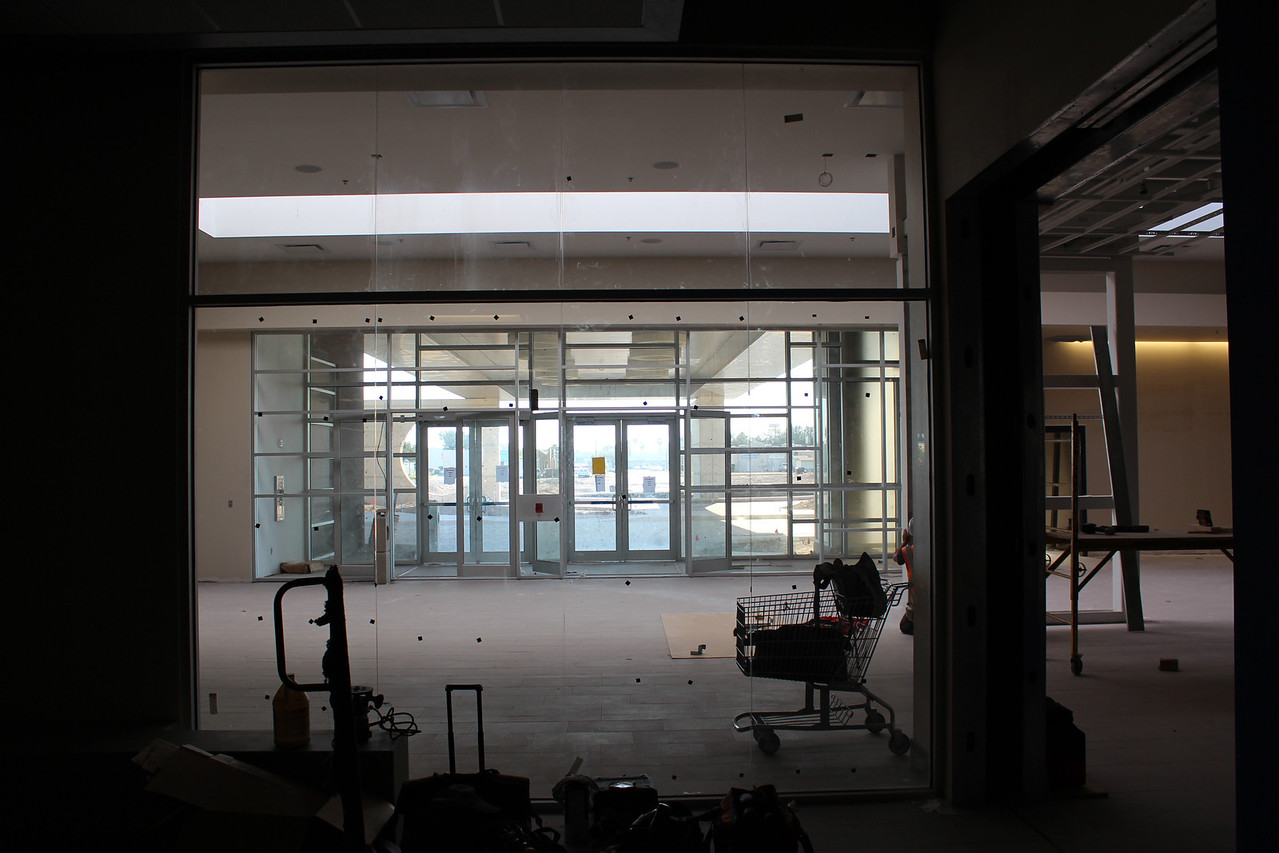 view from inside public computer lab to main entrance/lobby of the building