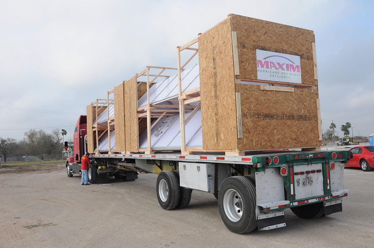 """Skylights being delivered. """"Hurricane Resistant Skylights."""" Thank you, Maxim!"""