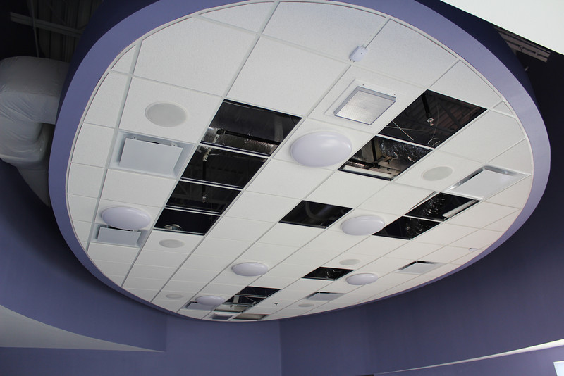 The ceiling of the children's programming room at the back of the children's section.