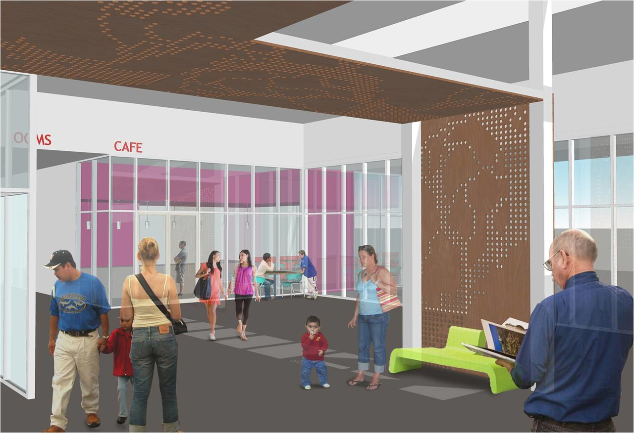 Entrance lobby leading to the cafe of the new Main Library.